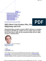 MES Short Lists Feature Plex, FlexNet, Even HighJump and SAP