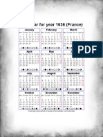 Year 1636 Calendar – France