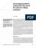 Some legalnext term problems arising from the use of the seas for military purposes
