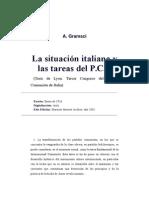 Gramsci, Antonio - La Situación Italiana y Las Tareas Del PCI. Tesis de Lyon