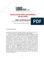 RAVANELLI WALTER ANIBAL - Acerca de La Critica Periodistica de Las Artes