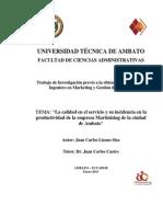 La Calidad en El Servicio y Su Incidencia en La Productividad de La Empresa Martinizing de La Ciu