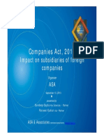 ASA Presentation the Companies Act 2013 Major Impact on Indian Subsidiaries