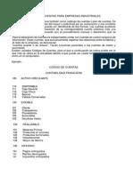 Código de Cuentas Para Empresas Industriales