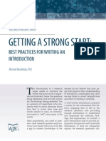Getting a Strong Start Best Practices for Writing an Introduction 0