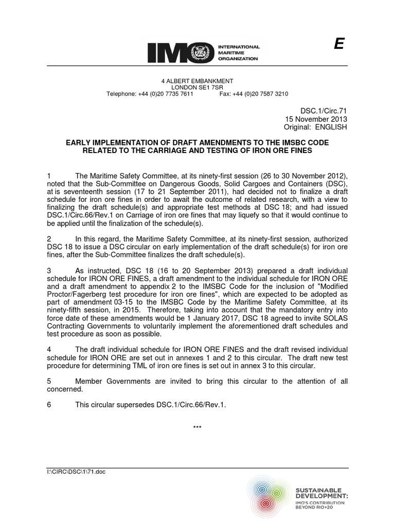 DSC 1 Circ 71 -Early Implementation of Draft AmendmentsTo