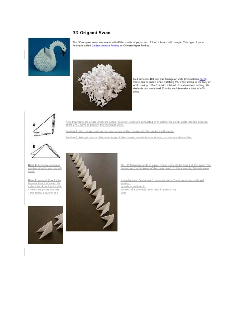 How to Make a 3D Paper Origami Swan : 7 Steps (with Pictures ... | 1024x768