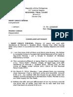 Complaint Affidavit - Buena vs. Cargo