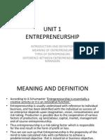 Unit 1 Theories of Entrepreneurship