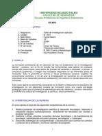 CE 1001 Taller Investigacion Aplicada Plan2006