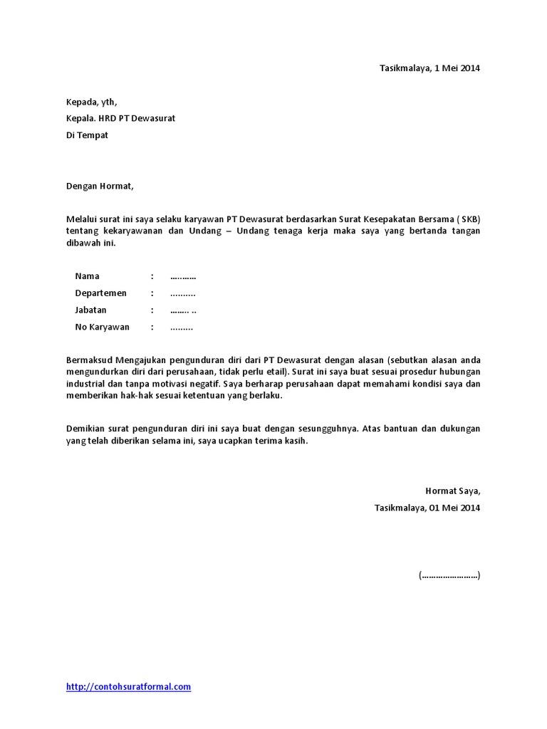 Contobbbh Surat Pengunduran Diri Dari Perusahaan
