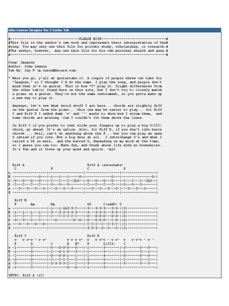 John Lennon Imagine Ver 2 Guitar Tab Guitars Song Structure