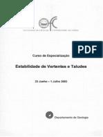 Curso de Especialização - Estabilidade de Vertentes e Taludes - 2003