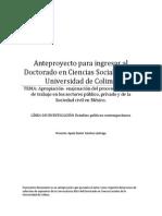 Anteproyecto. Apropiación Enajenación Del Trabajo en Los Sectores Público Privado y Civil