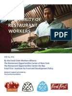 Food Insecurity of Restaurant Workers