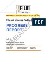 California Film Commission Film and Television Tax Credit Program Progress Report