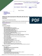 """Simposio Internacional de Filosofía Del Derecho """"Racionalidad en El Derecho"""" _ Facultad de Derecho - Universidad de Buenos Aires"""
