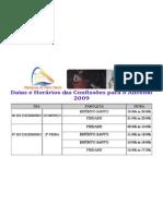 Horário das Confissões para o Advento 2009