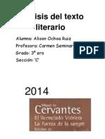 Analisis Literario Del Licenciado Vidriera Alison Ochoa