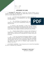 Affidavit of Loss - LEGAL FORMS
