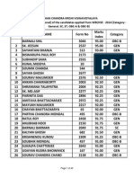 Provisional Merit List of WBCHSE-2014-15