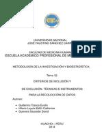 Tema 12.Criterios de Inclusion y Exclusion