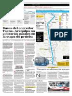 Buses Del Corredor Tacna-Arequipa No Cobrarán Pasajes en La Etapa de Prueba
