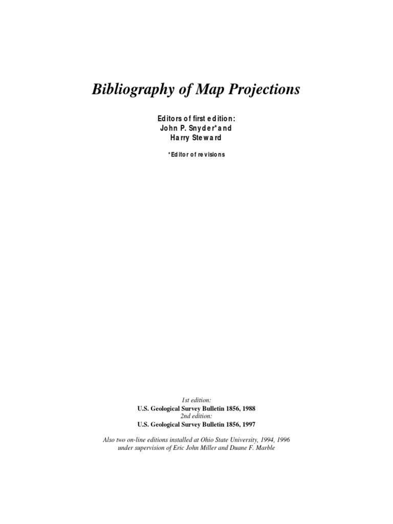 Bibliography of Map Projections   Geography   Cartography