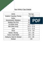 Class Schedule 2014-2015