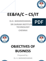OBJECTIVES OF BUSINESS - EE&FA/C -CS&IT - Dr.K.BARANIDHARAN, SRI SAIRAM INSTITUTE OF TECHNOLOGY, CHENNAI-OBJECTIVES OF BUSINESS - EE&FA/C -CS&IT