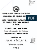 Diseño y Construccion de Transportador de Tornillo