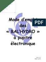 Mode d'emploi des « BAL'HYDRO »   à pupitre électronique
