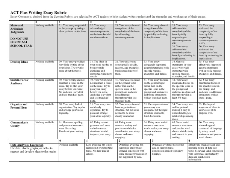 Act plus writing essay rubric comments essays rubric academic