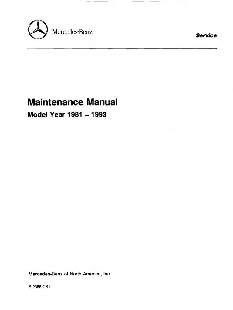 Mercedes (Series 107, 123, 124, 126, 129, 140, 201) Maintenance Manual  1981-1993 | Motor Oil | Screw
