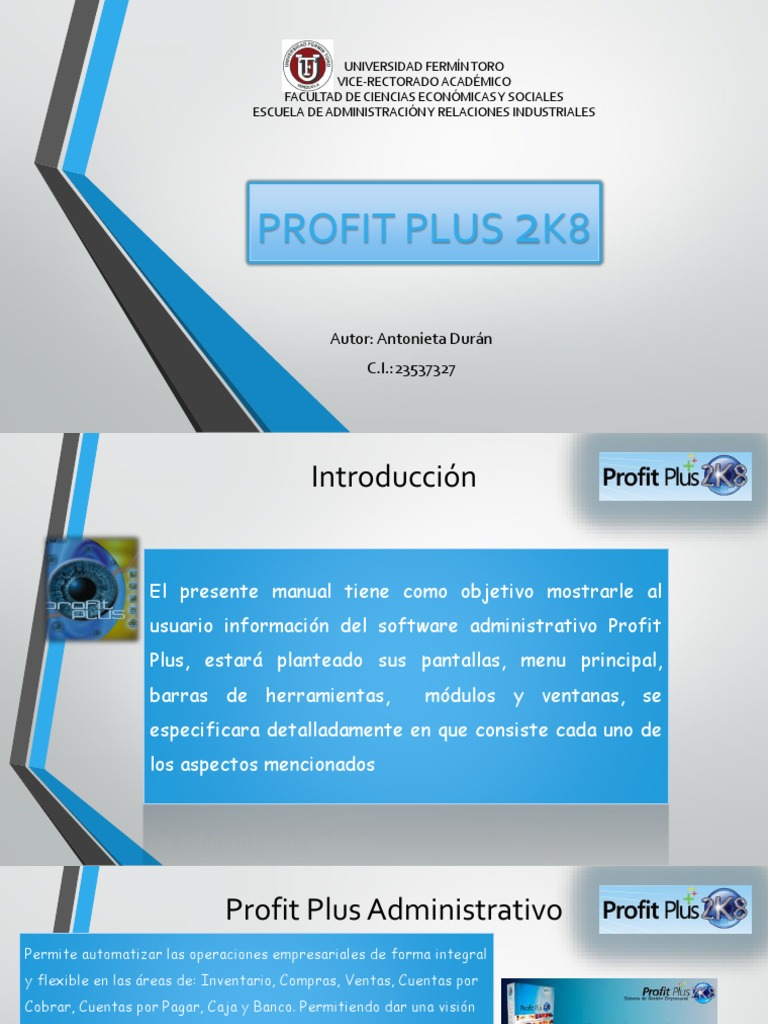 Manual de uso del paquete profit plus.
