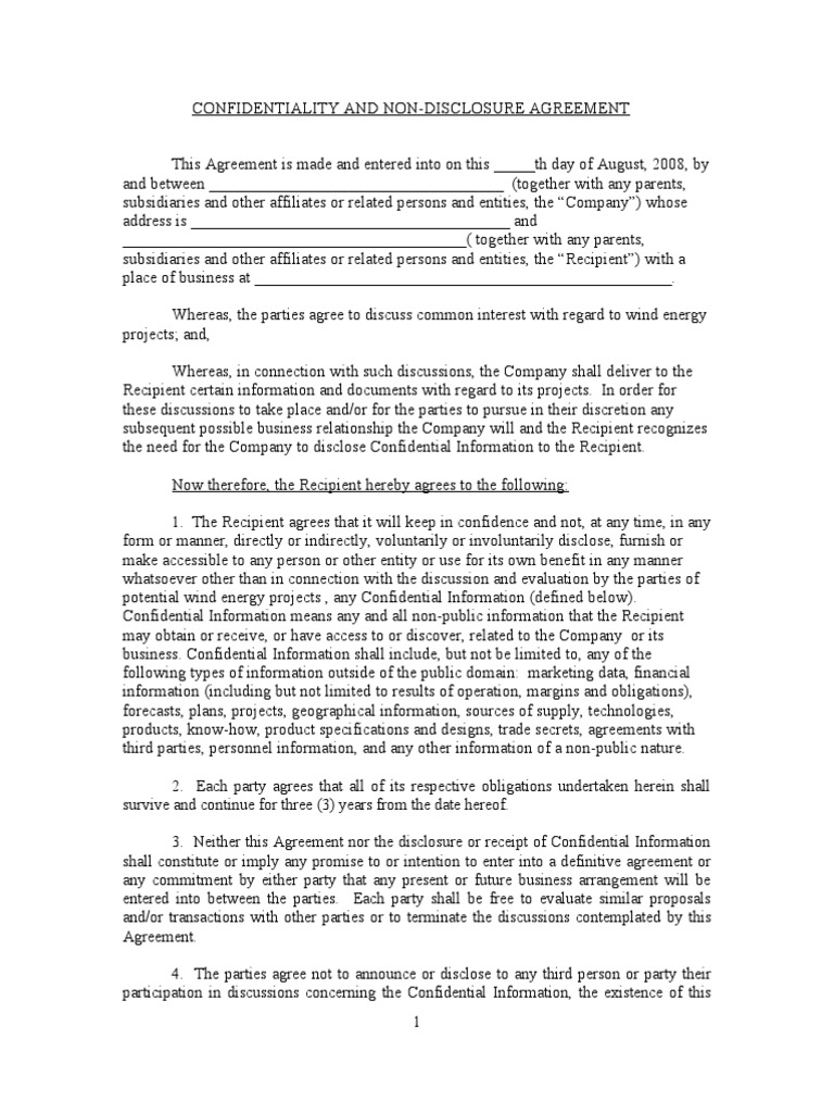 Confidentiality And Non Disclosure Agreement Clean Non