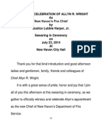 Justice Harper's Remarks Re Allyn R Wright Appointment as New Haven's Fire Chief