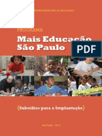 Programa Mais Educação São Paulo Subsídios Para Implantação