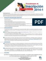 Procedimientos Inscripcion Gratis 2014-1 Final