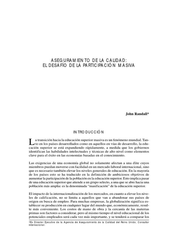 RANDALL 2002 Aseguramiento de La Calidad El Desafío de La ...