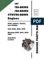 SL3640 SL3840 SL4240 Skid Loader Yanmar 3TNV88 4TNV88 Engine Parts Manual 917329
