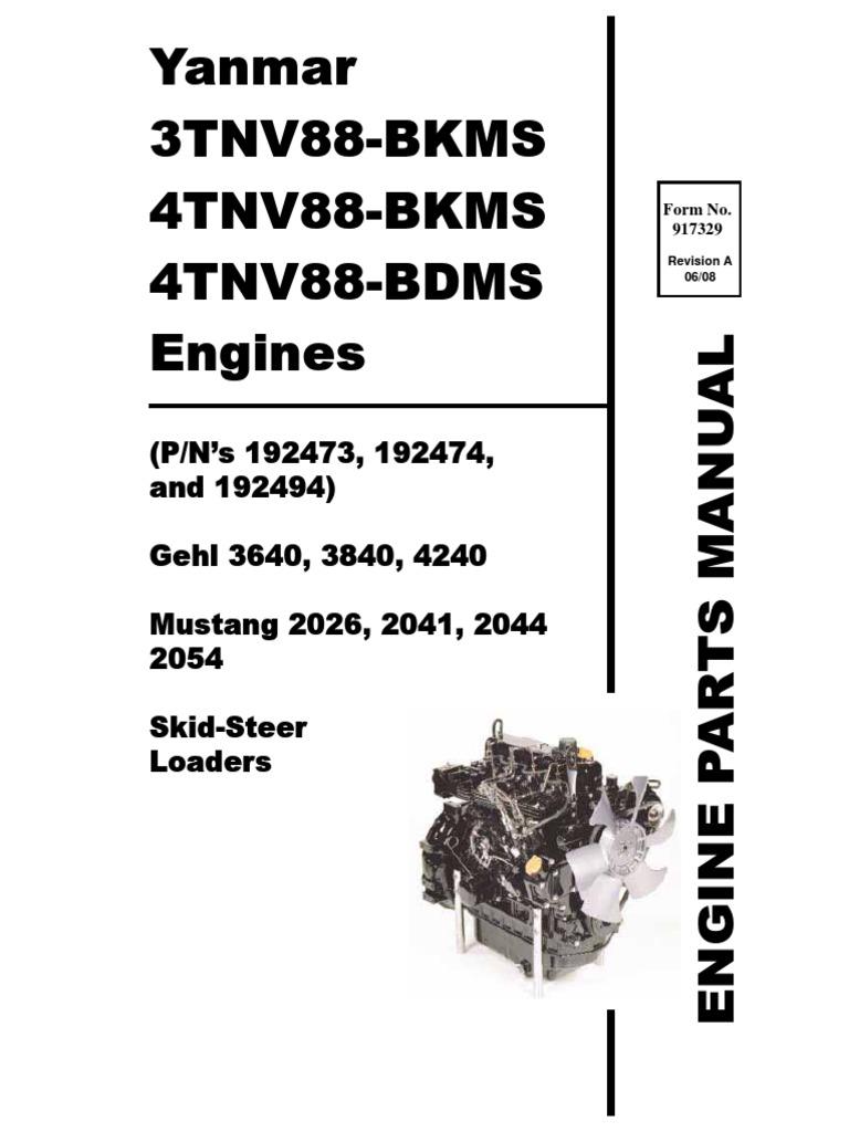 SL3640 SL3840 SL4240 Skid Loader Yanmar 3TNV88 4TNV88