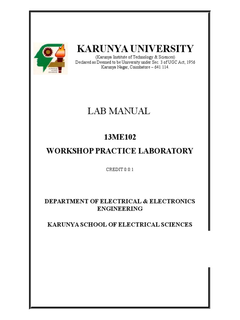 12me102 workshop practice lab manual p n junction electricity rh scribd com basic workshop practice lab manual electrical workshop practice lab manual