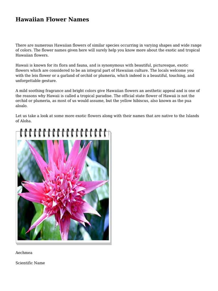Hawaiian Flower Names Landscape Architecture Flora