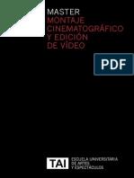 Máster en Montaje Cinematográfico y Edición de Vídeo, Escuela TAI