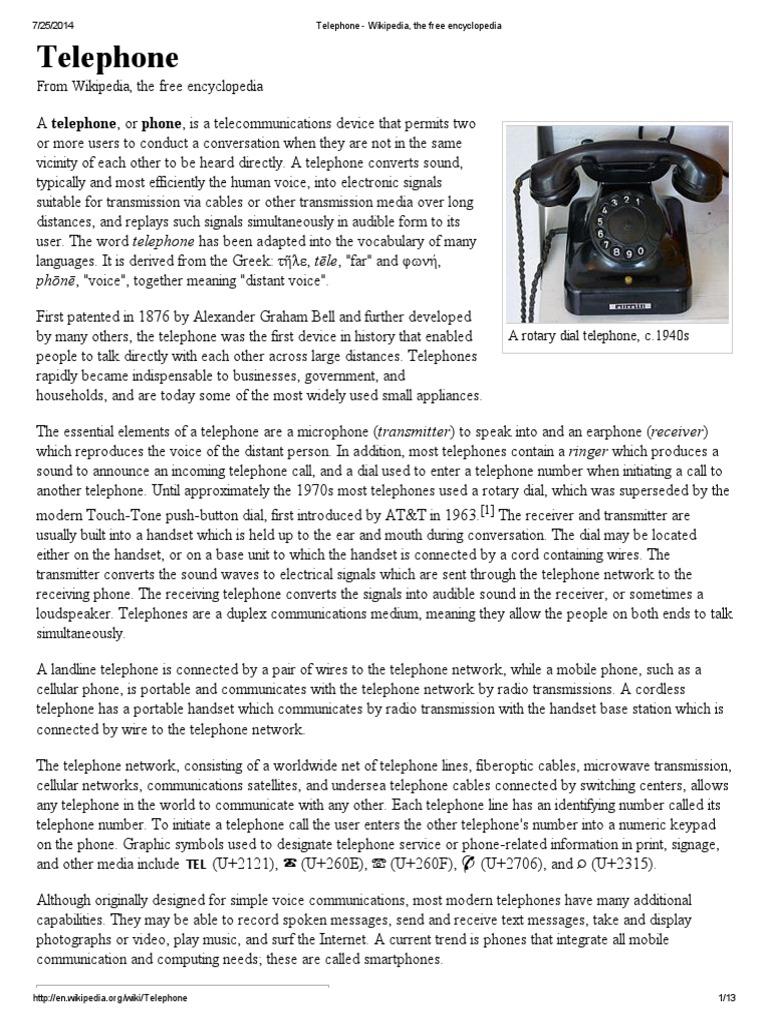 Telephone | Telephone | Networks