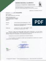 Oficio N° 092 - 2014.GR.CAJ.DRTC