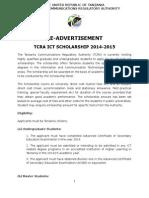 Scholarship Advertisement 2014 15 RE ADVERTISEMENT