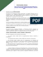 Especificaciones Agua Bajo Vilcallamas Region 2013
