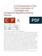 Concerns on the Expansion of the Mandate of the Commission of Inquiry to Investigate Into Complaints Regarding Missing Persons